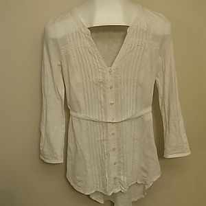 Anthropologie Meadow Rue White Tunic Top Small l/s